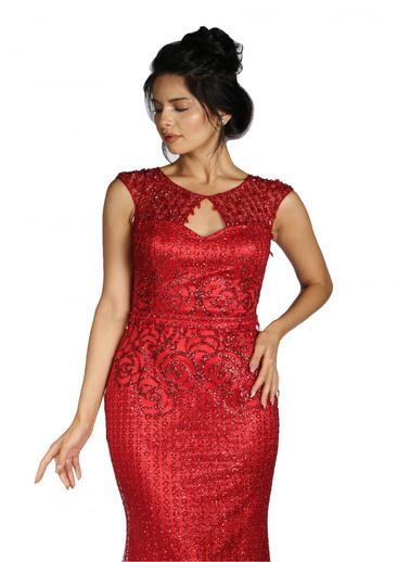 Pierre Cardin Pul Payetli Uzun Abiye Elbise Kırmızı